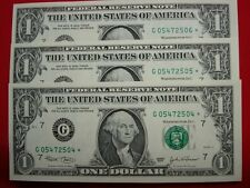 Star Notes 10 Sequentially Numbered New and Crisp Mint Fresh $1 Star Note LOOK