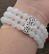 Natural 3 rows 8mm white jade Beads Stretch Tibetan silver Gems Bracelet 7.5''