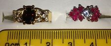 Stunning Set of 2 Gold Filled Red & Pink Cubic Zirconian Rings Job Lot, Sz L 1/2