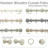 Rolls Honister 240cm 35mm LINEN WHITE Painted Ball Finial Wood Curtain Pole Set