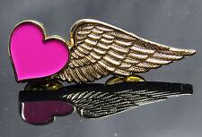 "Pink Heart Half-Wing Pin gift Airline Flight Attendant Air Hostess Stewardess 2"""