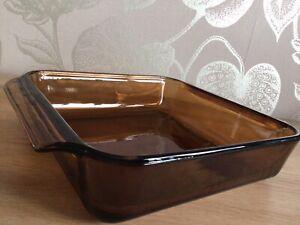 Anchor Hocking 8 Inch Square Brown Glass Dish 1.5 Quart Vintage