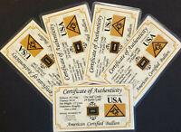 x5 ACB GOLD 1/2GRAIN 24K SOLID BULLION MINTED BAR 9999 FINE CERT 0F AUTHENTICITY