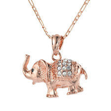 Women Rose Gold Plated Rhinestone Lovely Baby Elephant Pendant Necklace Jewelry
