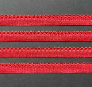 10mm wide Cherry Red Picot Edge Elastic (Lingerie Underwear Dressmaking Craft)