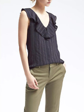 Banana Republic Stripe Ruffle-Collar Top Dark Night Size M Item #588140 J