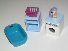 Playmobil Lot Accessoire Décor Machine à Laver + Meuble + Panier + Lessive NEW