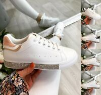 Ladies White Flat Trainers Women Lace Up Sneakers Comfy Diamante Gym Pumps Shoes