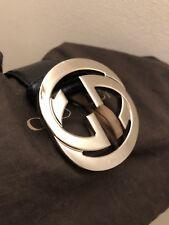 Guccissima Cinturón De Cuero Con Hebilla De Enclavamiento G