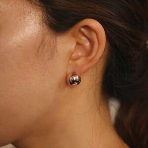Round Ball Bold Circular Huggie Hoop Chunky Bead Hoop Earrings for Pair