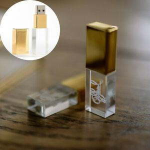 Gold Glass Crystal USB Flash Drive Engraved Custom Wedding Gift USB Box Pendrive