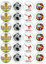 24 x PRECUT Edible Football World Cup Russia 2018 Cupcake Decoration Toppers
