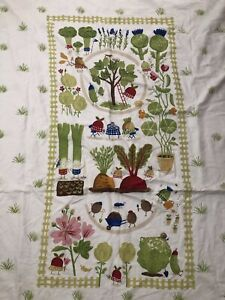 IKEA Torva Tradgard Duvet Cover Vegetables Ladybugs Garden Cotton Twin Size EUC