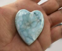 100% Larimar Natural Caribbean Cabochon Blue Loose Gem Stone 55 mm (39.4 G) A667