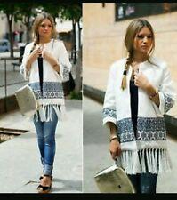 Zara Brodé Kimono Manteau Veste, Taille UK S/EUR S