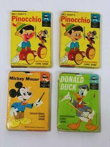 Vintage Walt Disney Productions PINOCCHIO, MICKEY MOUSE, DONALD Ed-U-Cards 4 Pks