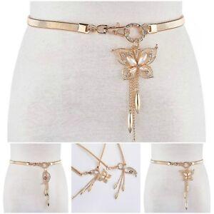 Fashion Elastic Women Metal Butterfly Stretch Colour Rhinestone Gold Waist Belt