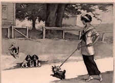 1914 CARTOON DICKEY ART CITY COUNTRY DOGS HOUND TERRIER FLAPPER