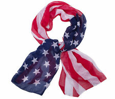 NEW Women Olympic American Flag Stars Stripes Soft Voile Cotton Long Scarf