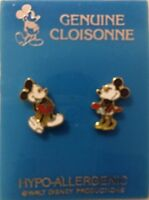 MICKEY MOUSE & MINNIE MOUSE CLOISONNE EARRINGS  WALT DISNEY WORLD EPCOT CENTER