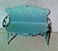 Antique French TIN Embossed Doll bench SAGE GREEN- Doll House/ Home Decor