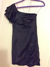 UK 10 Lipsy Dress Black Heavy Satin Feel One Shoulder Frill Ruched Party