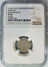 Antioch Bohemond III NGC VF30 Silver Denier Knights Templar Crusader Cross Coin