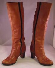 Brown Leather Knee High Boot Size 5.5 B Made in Brazil Good Condition 5 1/2 B
