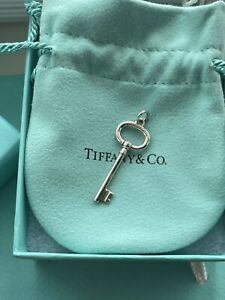 Tiffany & Co Silver Small Vintage Oval Key Pendant Charm For Necklace, Bracelet