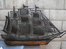 Large Metal Vintage Wall Art Sculpture Sailing Ship Possible Weather Vane? 21x36