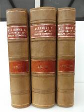 1859 A CRITICAL DICTIONARY of ENGLISH LITERATURE 3/3 Vol CALF BINDING Allibone