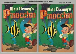 1939 Walt Disney PINOCCHIO Coloring Book - UNUSED, NO COLORING Inside - RARE