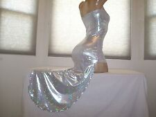 New Stripper Exotic Dancer Holo Silver Slash Salsa Dress S/M Stripperwear