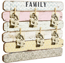 Bilder Foto Rahmen Bilderhalter Fotoleine mit Klammern Memoboard Collage Family