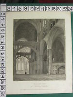 1813 DATED ANTIQUE PRINT ~ TRANSEPT VIEW OF SALISBURY CATHEDRAL ~ WOOLNOTH NASH