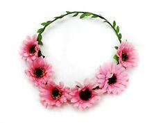 Wire Pink Sun Flower Crown Garland Summer Headband Bridesmaid Wedding Party