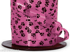 Black Paw Print Hot Pink Curling Ribbon Cat Dog Paws Crafts Gifts Baskets 250 yd