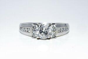 $6,000 1.55CT NATURAL ROUND CUT WHITE DIAMOND ENGAGEMENT RING 14K WHITE GOLD