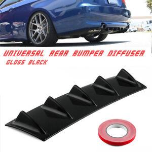 23'' x6'' black Car Rear Body Bumper Diffuser Shark Fin Kit 5 Shark Fins Spoiler