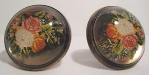 Old Victorian Brass & Domed Glass Rosettes - unusual Curtain Floral Tie Backs