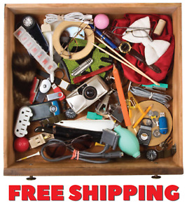 JUNK DRAWER LOT BOX New & Vintage Pins/Cards/Glass/Postcards/Coins BY THE LB