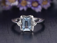 2Ct Emerald Cut Natural Aqua Blue Topaz Simulated Diamond Ring Silver Gold Finsh