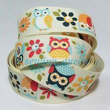 "25 mm 1"" Hot Cute Owls Flower grosgrain ribbon Halloween DIY bows crafts 2 yds"