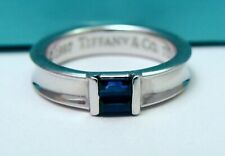 GORGEOUS TIFFANY & CO 750 18K WHITE GOLD SAPPHIRE STACKING BAND RING SZ 5.75
