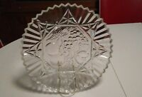 "Vintage 11"" Cut Glass Serving Plate. Fruit and starburst design."