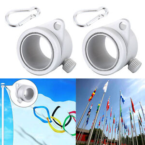 2Pcs Alloy Flag Pole Rotating Rings Clips Anti Wrap Grommet Mounting Tool Rings-