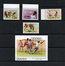 P630  Uganda  1986  football soccer winners OVERPRINTED  set & sheet  MNH