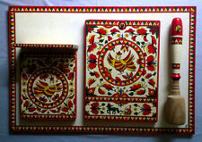 Vintage Hand Painted Folk Art Tow Cutting Boards Masher Set