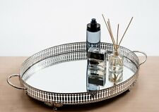 Silver Mirrored Vanity Tray Decorative Tray |Elegant Perfume Jewelry Makeup Tray