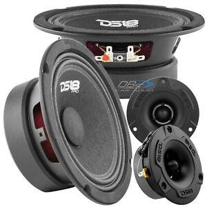 "2x DS18 PRO-GM6.4 6.5"" Midrange Car Speakers 2x PRO-TWX1BK Super Bullet Tweeters"